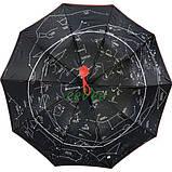 Женский зонтик Звездное небо полуавтомат складной 10 спиц антиветер Bellissimо Красный (19302-6), фото 4