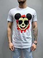 Мужская футболка стильная с рисунком лето цвет: белый Турция