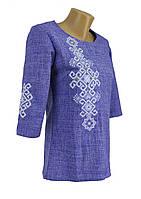 Вышитая женская блуза на 3/4 рукав в цвете джинс «Фламинго»