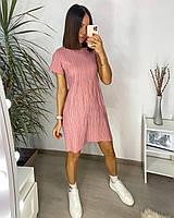 Сукня жатка з коротким рукавом однотонна жіноча (ПОШТУЧНО), фото 1