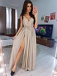 Платье в пол нарядное люрекс KT594, фото 4