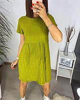 Платье жатка с коротким рукавом однотонное женское (ПОШТУЧНО), фото 1