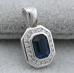 Серебряный кулон размер 17х10 мм вставка синие фианиты вес 1.6 г
