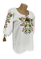 Женская вышитая рубашка Дуб Калина из домотканого полотна в белом цвете большие размеры