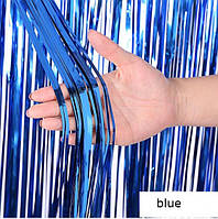 Шторка занавес из фольги для фото зон синяя 1х3 метра