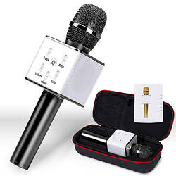 Bluetooth микрофон для караоке Q7 Блютуз микро + ЧЕХОЛ Черный AVE