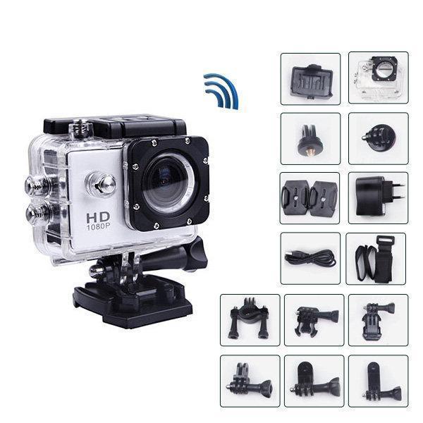 Екшн камера A7 FullHD + аквабокс + Реєстратор Повний компект+кріплення шолом СРІБЛО