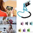 Держатель для телефона на шею 360 градусов вращения гибкий селфи БЕЛЫЙ AVE, фото 5