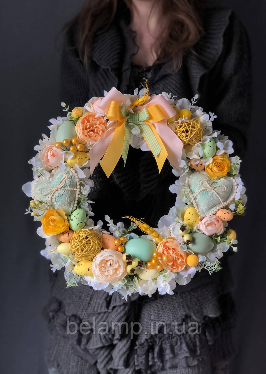 Великодній віночок на стіл або двері «Соковитий весняний»