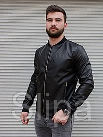 Мужская кожаная куртка бомбер чёрная