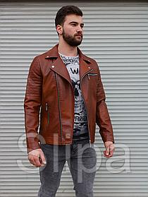 Мужская кожаная куртка косуха, коричневая