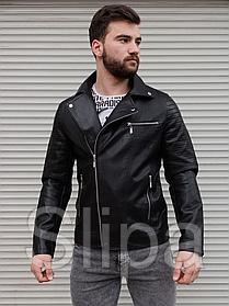 Мужская кожаная куртка косуха черного цвета
