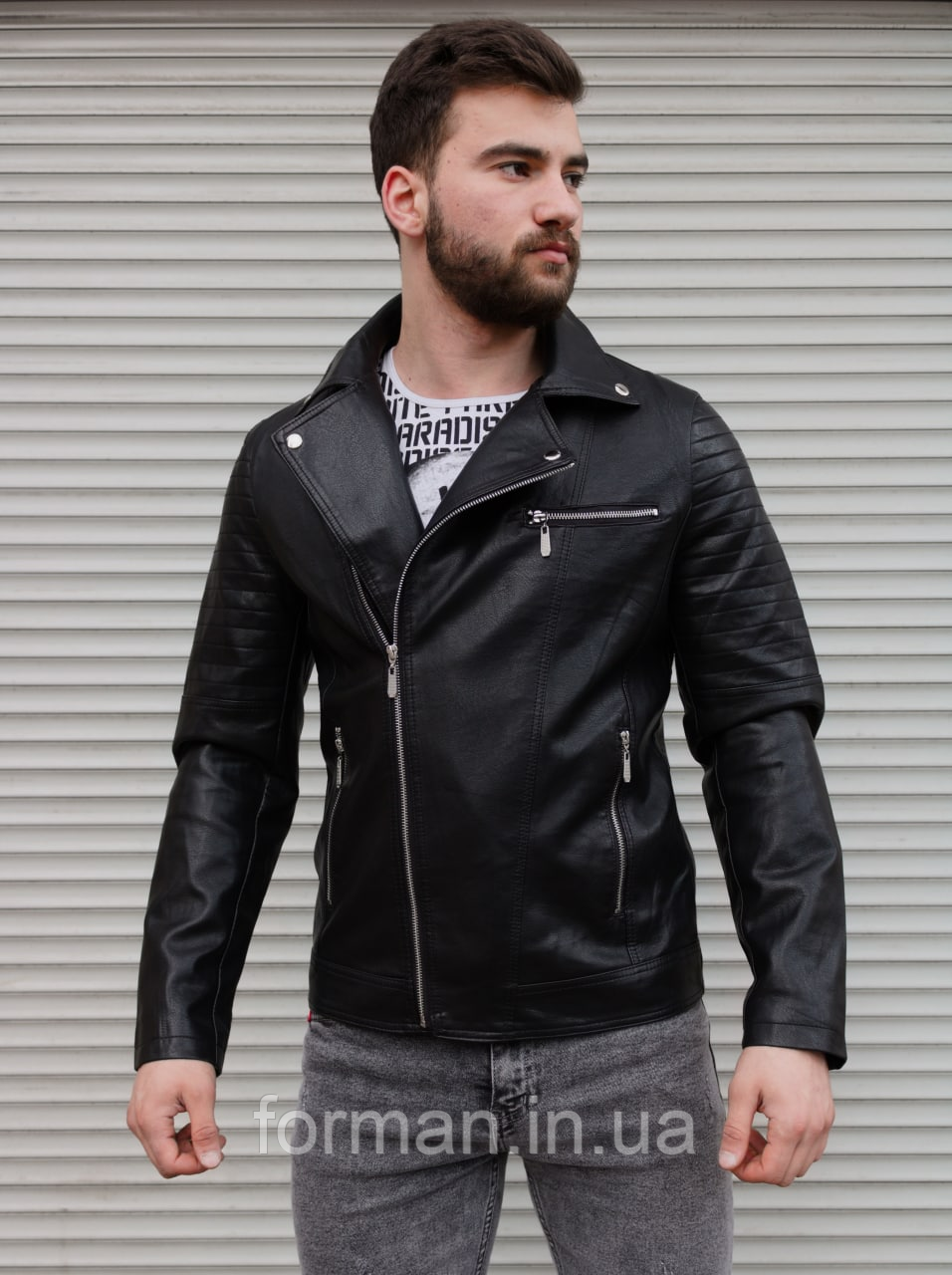 Чоловіча куртка-косуха з шкір заступника чорна