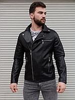 Чоловіча куртка-косуха з шкір заступника чорна, фото 1