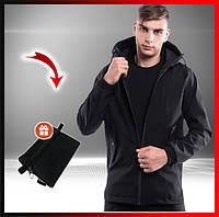 Куртка демисезонная мужская черная с капюшоном Soft Shell, молодежная куртка стильная + подарок