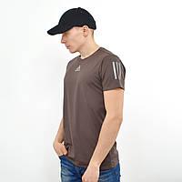 Чоловіча футболка з светоотражайками на грудях і рукаві Adidas (репліка) Коричневий