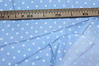 Ткань джинс стрейч, №351  голубой горох (стрейч! Рубашка, платье)