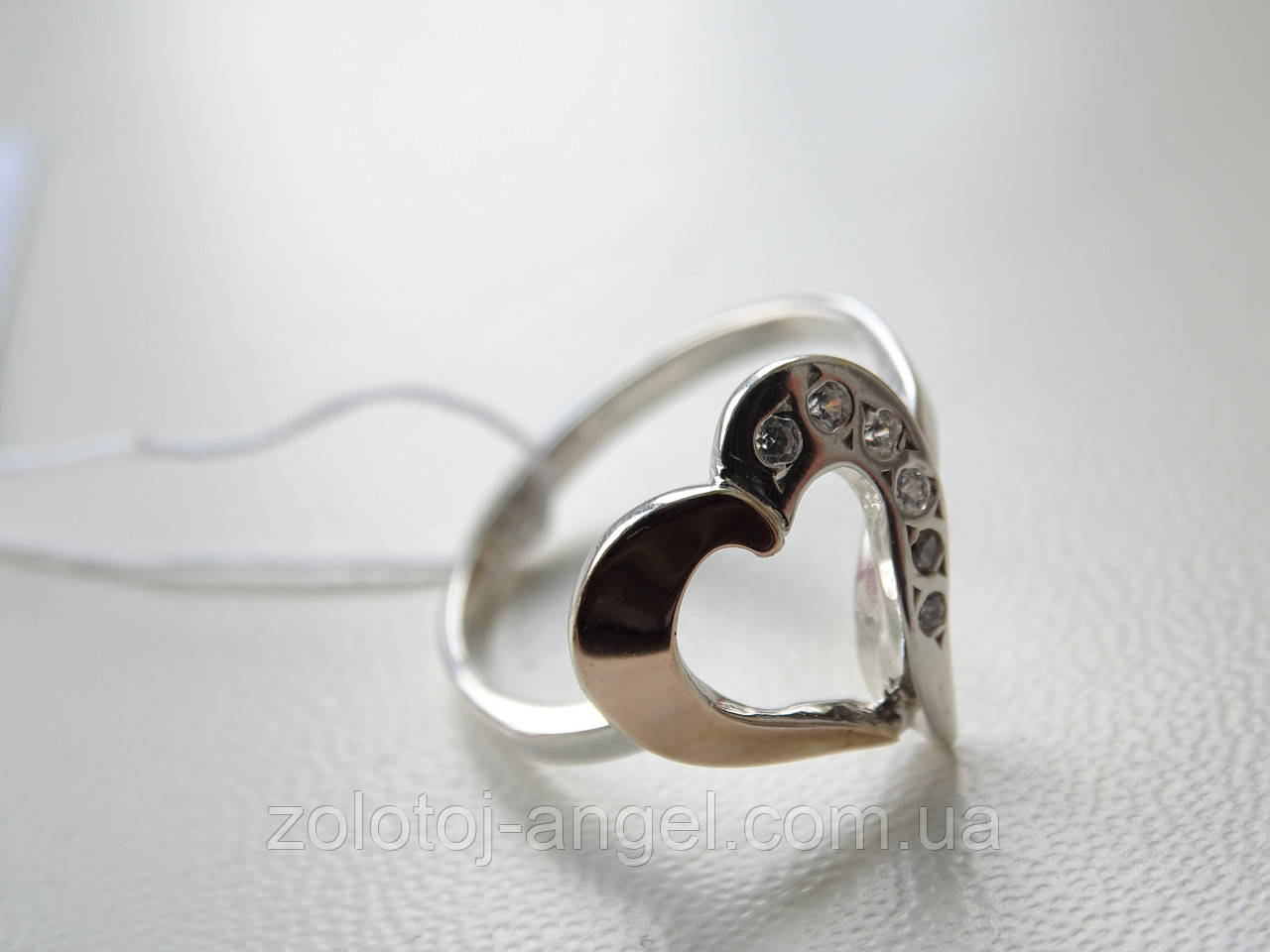 Серебряное кольцо с золотой пластинкой - Золотой Ангел  в Краматорске