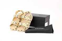 Женские босоножки сандали Chanel Dad Sandals. Бежевые