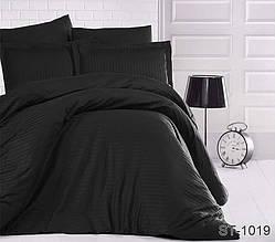 Страйп-сатин двухспальный комплект черного цвета ТМ TAG LUXURY ST-1019