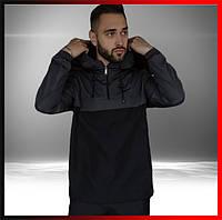Демисезонная куртка анорак мужская серо-черная с капюшоном President, ветровка спортивная