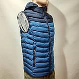 Чоловіча жилетка безрукавка темно-сині плечі з електриком з капюшоном, фото 2
