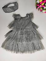 Нарядное детское платье с повязкой для девочек 104-110р