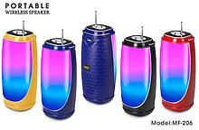 Колонка со светомузыкой, USB, SD, FM, Bluetooth, 1-динамиком и антенной 18см*8.5см MF-206 AVE