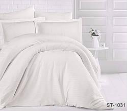 Страйп-сатин двухспальный комплект белый ТМ TAG LUXURY ST-1031