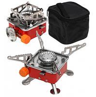 Газовая плитка портативная K-202, мини печка походная под баллон с пьезоподжигом