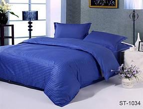 Страйп-сатин двухспальный комплект синий ТМ TAG LUXURY ST-1034