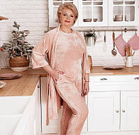 Женский домашний костюм большого размера, Стильный и комфортный костюм-тройка батал. В комплекте халат со