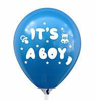 """Латексна кулька 12""""  Синя з білим малюнком """"It's a Boy"""" (КИТАЙ)"""