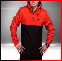 Демисезонная куртка анорак мужская черная-красная с капюшоном, ветровка спортивная