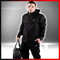 Демисезонная куртка анорак мужская черная с капюшоном, ветровка спортивная