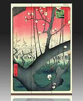 """Ширма деревянная """"Сливовый сад"""" А. Хиросигэ"""