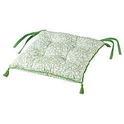 IKEA INBJUDEN  Подушка на стул, белый / зеленый (604.919.67)