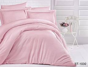Страйп-сатин двухспальный комплект розовый ТМ TAG LUXURY ST-1030