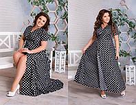 Удобное длинное летнее платье халат на запах больших размеров 48 - 62, выбор расцветок