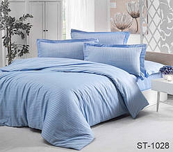 Страйп-сатин двухспальный комплект голубой ТМ TAG LUXURY ST-1028