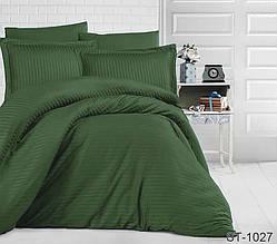 Страйп-сатин двухспальный комплект зеленый ТМ TAG LUXURY ST-1027