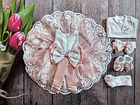 Красивейший крестильный подарочный набор для девочки Турция на 0-3 мес. (набор для крещения на девочку), фото 1