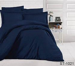 Страйп-сатин двухспальный комплект синий ТМ TAG LUXURY ST-1021