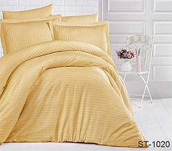 Страйп-сатин двухспальный комплект желтый ТМ TAG LUXURY ST-1020