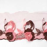 Ажурное кружево вышивка на сетке: розово-персиковая, коричневая нить по розово-персиковой сетке, ширина 11 см, фото 2