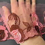 Ажурное кружево вышивка на сетке: розово-персиковая, коричневая нить по розово-персиковой сетке, ширина 11 см, фото 5