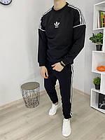 Спортивный костюм Adidas SPRINT Мужской свитшот лампасы Качество LUX Реплика (Размер S) Black