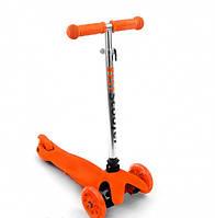 Самокат детский Scooter Mini трехколесный со светящимися колесами оранжевый