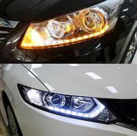 Новинка! Цепные дхо LED ДХО + бегущий поворот 60 см! Встраиваются в любые фары! Дневные ходовые огни.