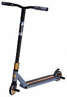 Самокат Maraton Versa трюковый двухколёсный для прыжков с усиленым рулём и пегами черный с серым